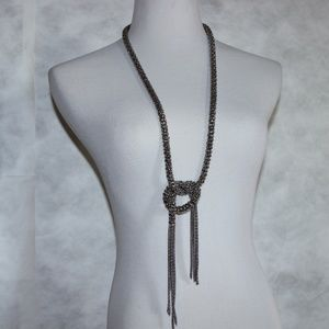 Jewelry - Silver Tone Mesh Chain Necklace Knotted